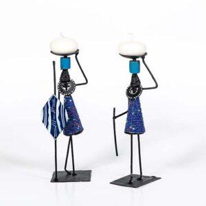 Candelabro masai in ferro e perline