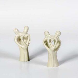 coppia con cuore in pietra saponaria